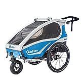 Qeridoo Kidgoo1 (2018 - Upgrade) Kinder-Fahrradanhänger für 1 Kind (mit Einstellbarer Federung) - Blau