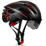 Shinmax Fahrradhelm mit Visier UV-beschützen,Fahrradhelm Herren Damen mit USB Licht Leuchtaufkleber CE-Zertifikat,Fahrradhelm für Erwachsene Leichter Einstellbar MTB Straße Rennradhelm 57-62cm(RC-049)