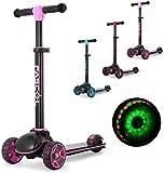 Fascol Kinderroller Klappbar Roller Scooter ab 3-12 Jahre Kinderscooter mit LED Räder Tretroller Belastbarkeit bis 50 kg (Lila Rosa)