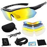 Miriqi Polarisierte Sportbrille, Fahrradbrille, Sportliche Sonnenbrille UV400 Schutz für Herren & Damen mit 5 Wechselgläser,für Outdooraktivitäten wie Radfahren Laufen Klettern Autofahren Angeln Golf