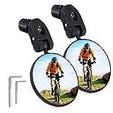 SGODDE Fahrradspiegel Rückspiegel Fahrrad, 2 Stücke 360°Drehbar Sicherer Rückspiegel für 17.4-22mm Lenker Universal, Verstellbarer konvexer Fahrrad-Lenkerspiegel für Ebike Rennräder Mountainbikes