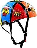 KIDDIMOTO Fahrrad Helm für Kinder - CE-Zertifizierung Fahrradhelm - Design Sport Helm für Skates, Roller, Scooter, laufrad - Comicstrip -S (48-53cm)