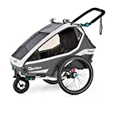 Qeridoo Kidgoo2 (2020/2021) Kinderfahrradanhänger, Fahrradanhänger 2 Kinder - Grau