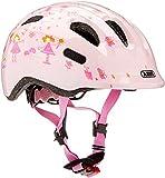 ABUS Smiley 2.0 Kinderhelm - Robuster Fahrradhelm für Mädchen und Jungs - Rosa mit Prinzessinnen-Muster, Größe S