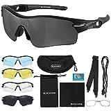 Blackpro Polarisierte Fahrradbrille   Radsportbrille   Sportbrille   4 austauschbare Gläser UV 400 Schutz   Fahrradbrillen   Polarized Sonnenbrille   Radsport, MTB, Triathlon, Lauf