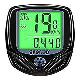 SPGOOD Fahrradcomputer Kabellos IP54 wasserdichte 16 Funktionen fahrradcomputer Wireless LCD Geschwindigkeit Fahrradtacho drahtlos Radcomputer Tacho Schwarz