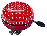 FISCHER Fahrradglocke Maxi  mit Lenkerhaltung   rot mit weißen Pünktchen  One Size  80 mm