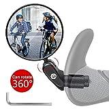 Vintoney Fahrradrückspiegel, 1 Stück universal verstellbar 360° Fahrradspiegel für 17,4-22 mm Flacher Lenker Drehspiegel Rückspiegel Lenkerspiegel für Fahrrad rennrad Mountainbikes (Kurzer Griff)