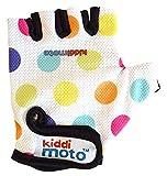 Kiddimoto Kinder Fahrradhandschuhe Fingerlose für Jungen und Mädchen / Fahrrad Handschuhe / Bike Kinder Handschuhe - Pastellpunkte - S (2-5y)