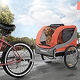 Happypet Hundeanhänger Fahrradanhänger für Hunde Hundefahrradanhänger inkl. Anhängerkupplung Regenschutz Sunset ROT