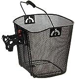 P4B | Fahrradkorb in Schwarz - vorne für Lenker - Engmaschiger Vorderradkorb für Ihre Fahrrad | Mit Clip-ON-Halter | Für Lenkerdurchmesser von 22 bis 27 mm