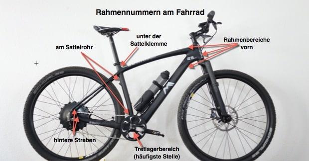 Rahmennummern am Fahrrad