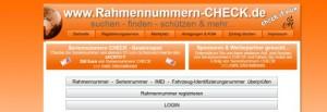 Screenshot von Rahmennummern-check-de