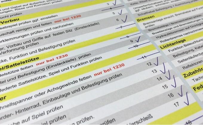 Fahrradinspektion Checkliste