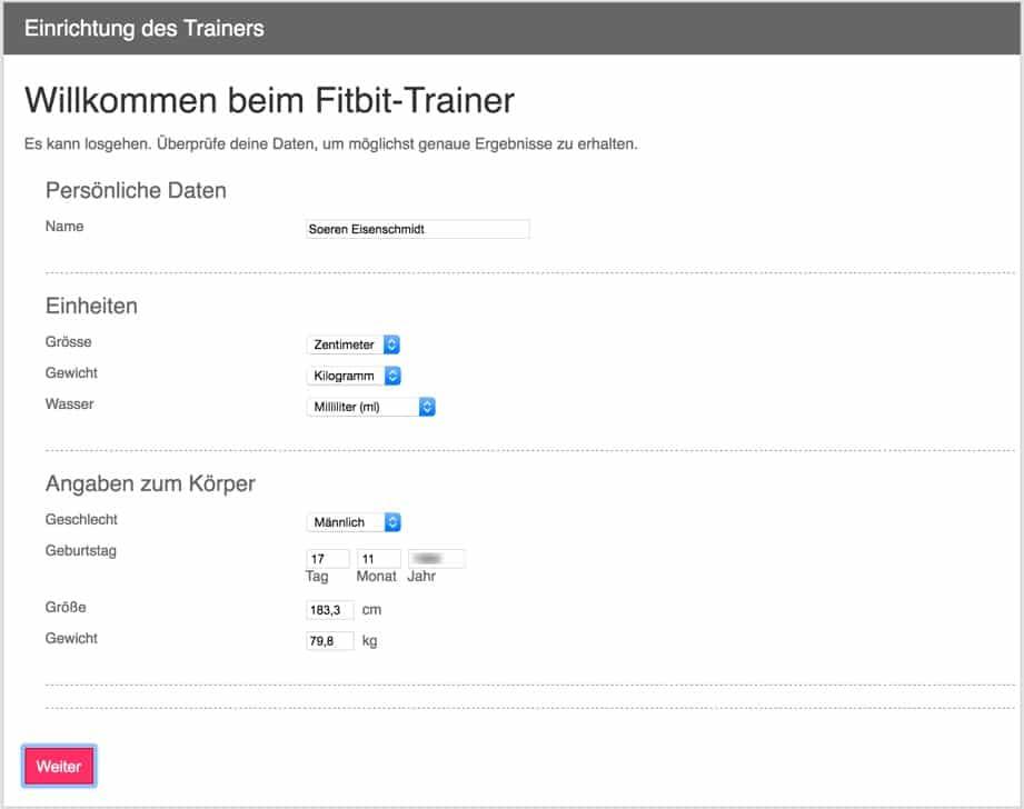 Fitbit Trainer einrichten