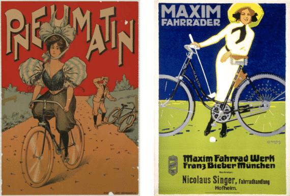 Werbeplakate Frauen und Fahrrad