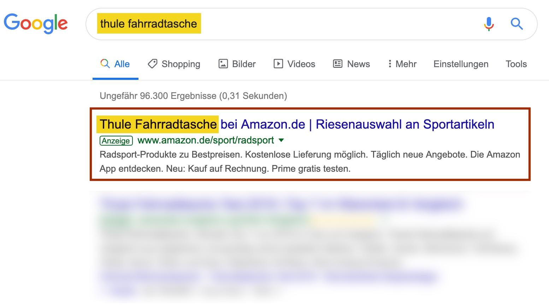 Thule Fahrradtaschen Werbung bei Amazon